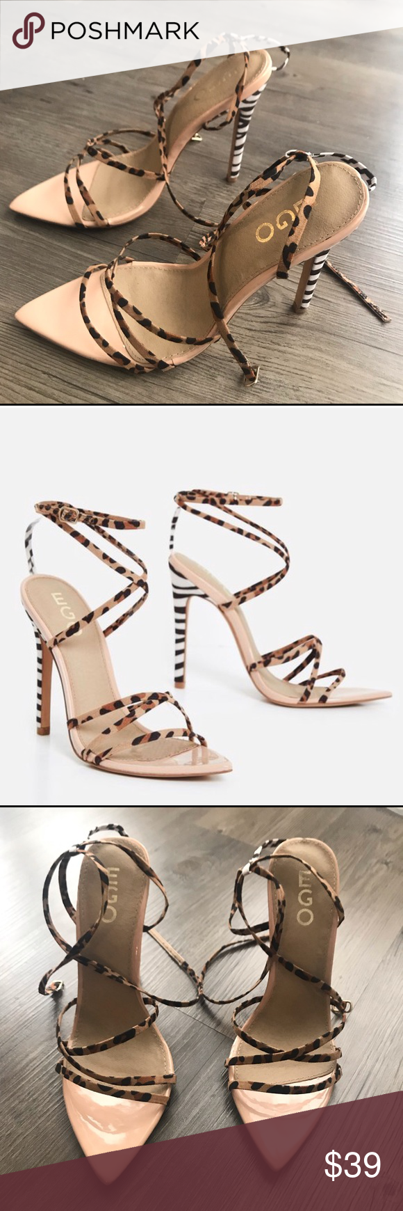 caaa2f0e0000 Leopard Zebra Barely There Strappy Heel size US 8 A combo of two animal  prints, strappy detail, stiletto heel and a must have pointed toe.