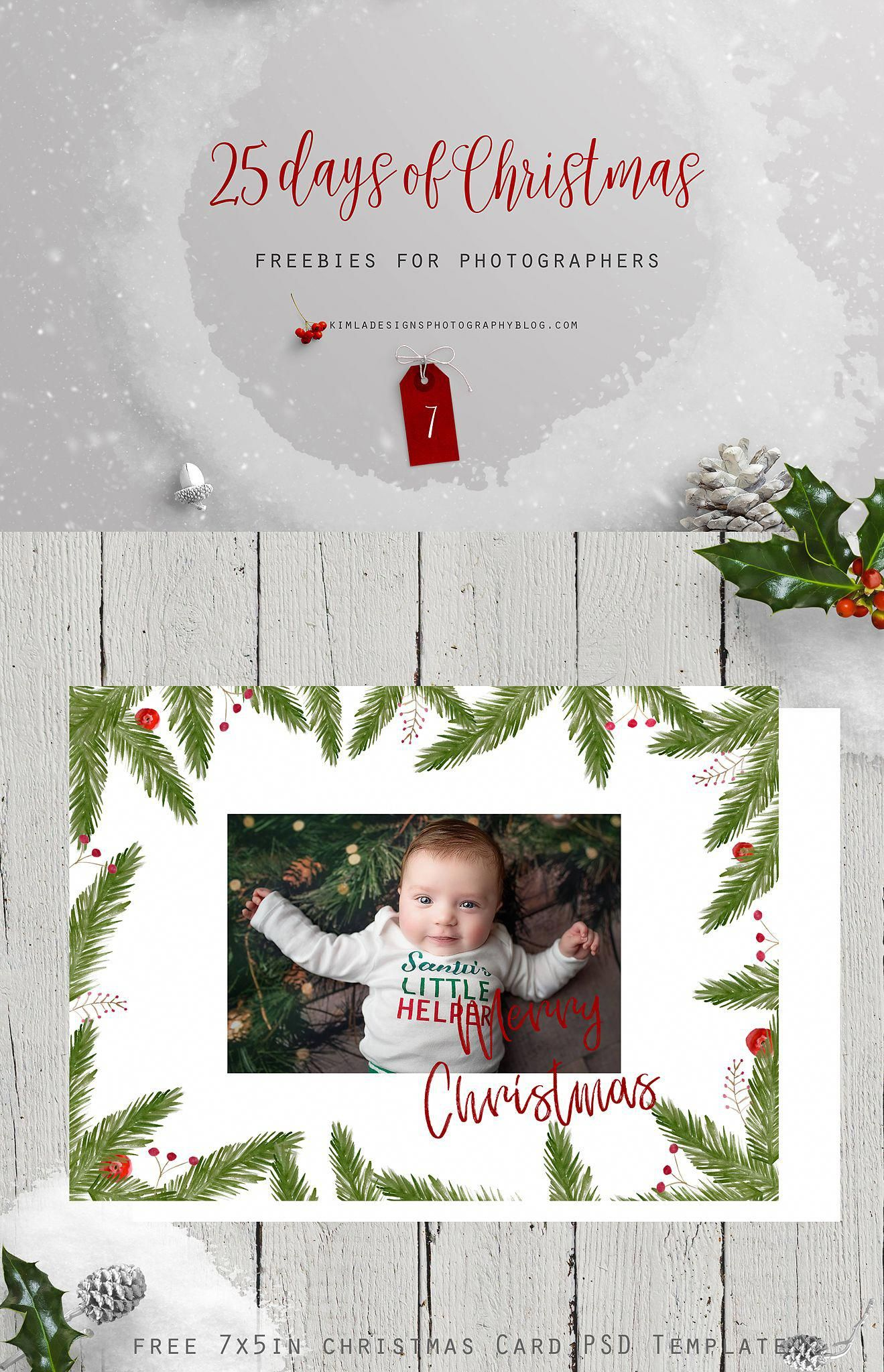 Free Watercolor Christmas Card Template For Photographers On The Blog Photoshoptutorialc Christmas Freebie Watercolor Christmas Cards Christmas Card Template