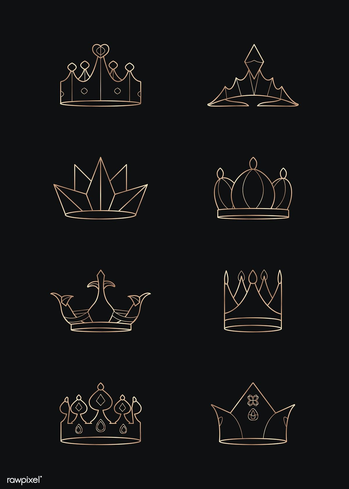 Luxurious geometric crown design collection vectors free