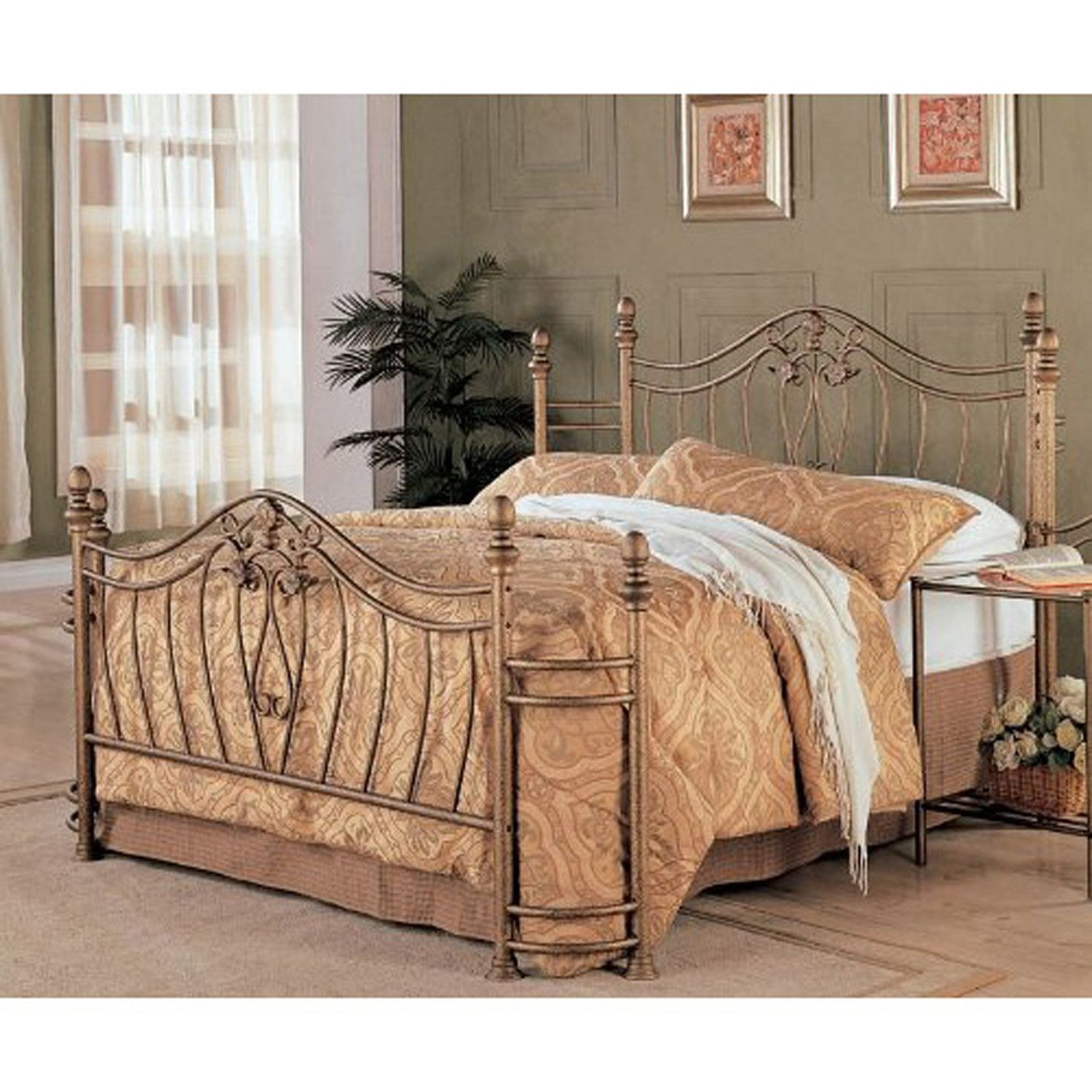 Antique iron bed queen - Queen Size Metal Bed With Headboard Footboard In Antique Brushed Gold Finish