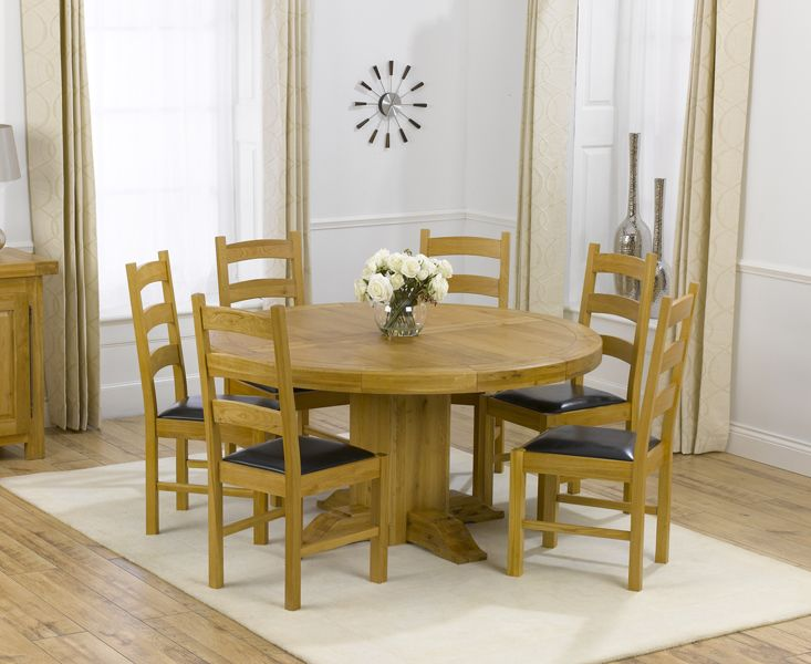 Torino Solid Oak 150Cm Round Pedestal Dining Table And 6 Vermont Enchanting Oak Dining Room Table And 6 Chairs Decorating Design