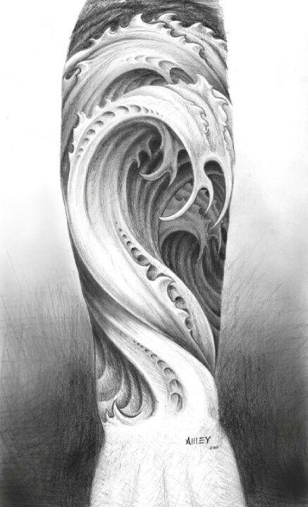 3d effect wave tattoo design tattoos pinterest tattoo designs rh pinterest com Sound Wave Tattoo Wave Tattoo Sleeve
