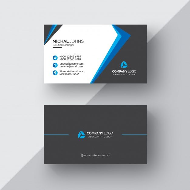 Download Black Business Card With White And Blue Details For Free Free Business Card Templates Business Card Black Black Business Card