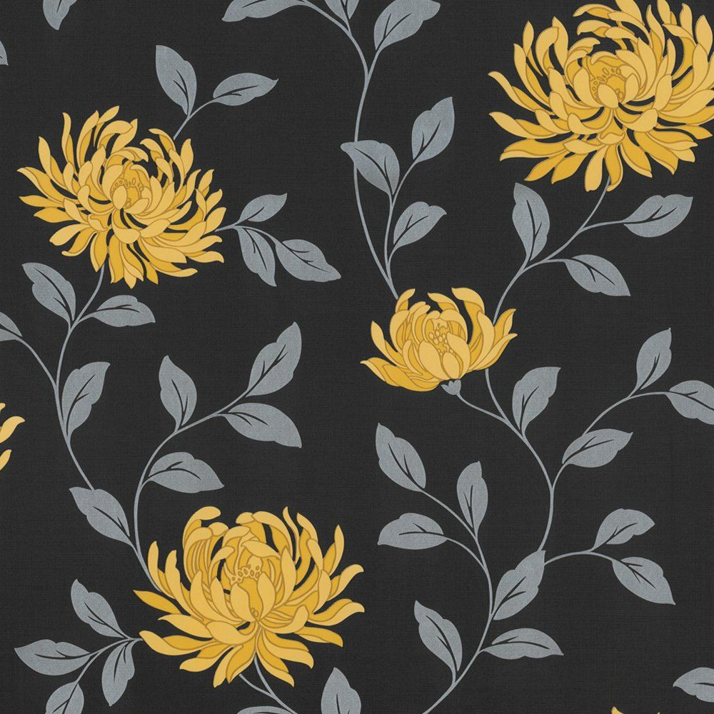 L Amour Motif Floral Wallpaper Yellow Black Victorian