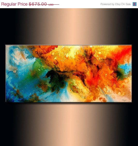 Original Modern Abstract Painting Canvas art by newwaveartgallery, $594.00