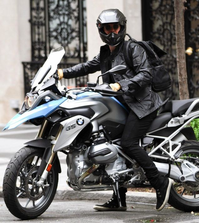 orlando bloom rides 2013 bmw bike wearing belstaff jacket