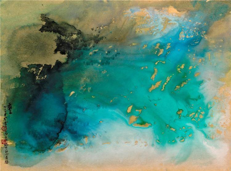 #art .#painting by Zhang Daqian - 张大千  Snow Storm Switzerland