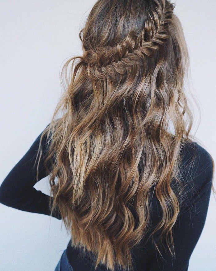 Half Up Half Down Fishtail Braid Fishtail Braid Hairstyles Fishtail Hairstyles Braided Hairstyles