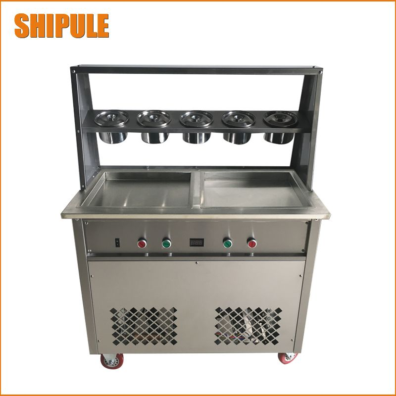 110v 220v Fried Ice Cream Machine Double Pan New Double Pressure