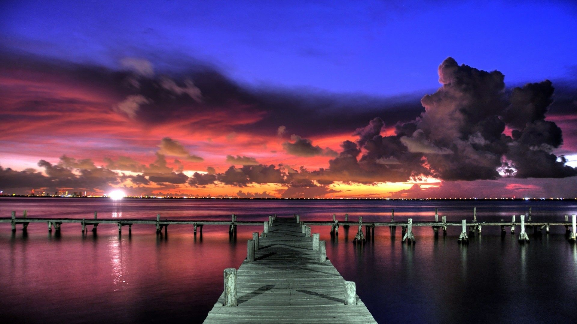 Download Wallpaper 1920x1080 Pier, Sunset, Sky, View Full
