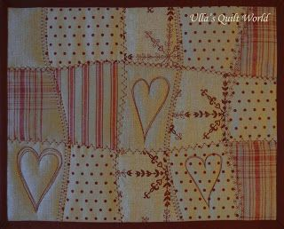 Ulla's Quilt World: Heart curtain, tablemats, angel and star table cloth quilts