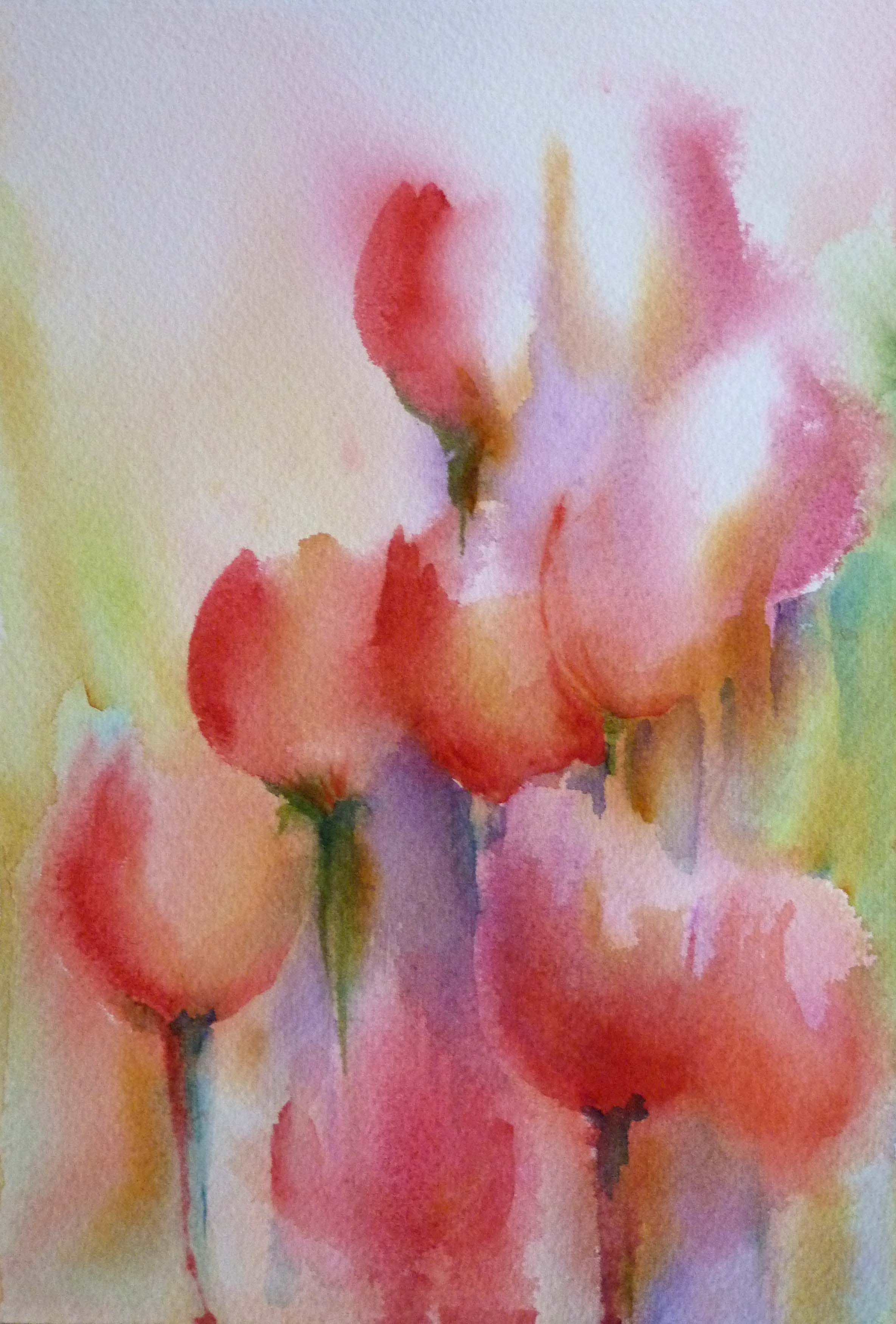 Watercolor Wash Tulips Really Washed Out Shape Perfectly