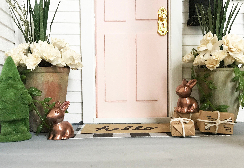 Copper miniature rabbits 2 rabbits dollhouse decor easter