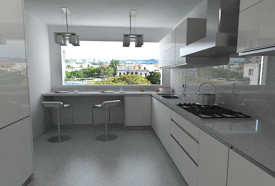 Mesadas en granito gris Mara con regruesos y alzadas acabados - Cocinas Integrales Blancas