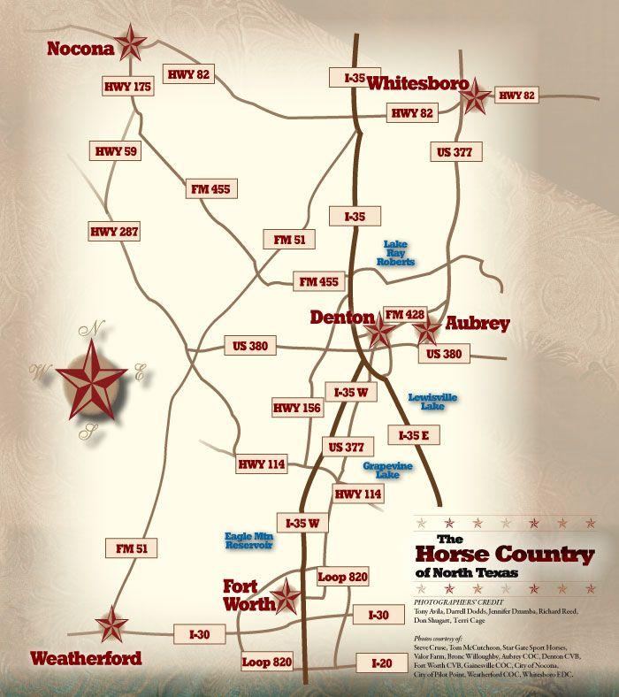 North Texas Horse Country A Driving Tour Map Ntx