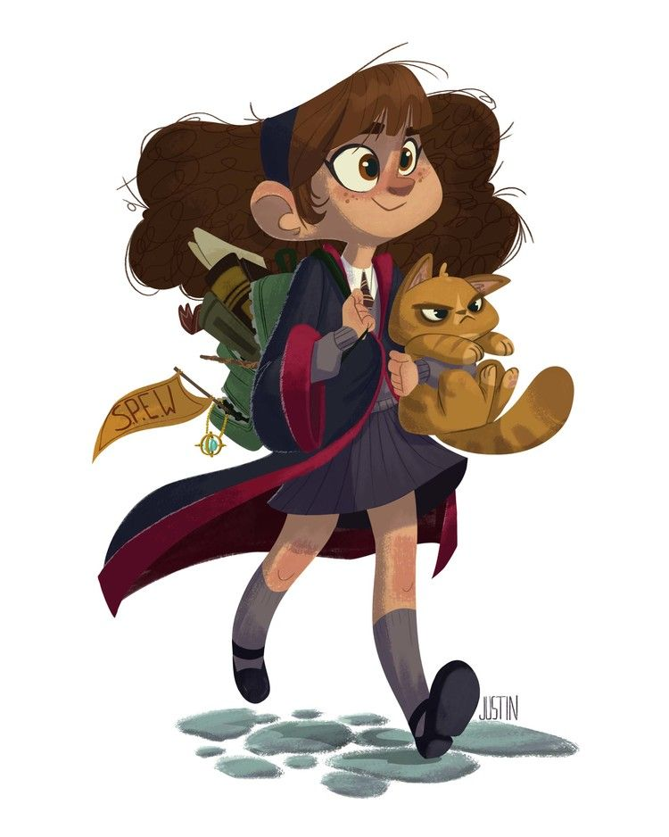 Hermione Granger  Justin Rodrigues  Harry Potter Art -8445
