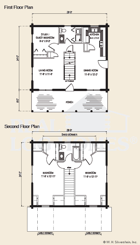 The Deerfield, Log Home Floor Plans NH, Custom Log Homes | Gooch ...