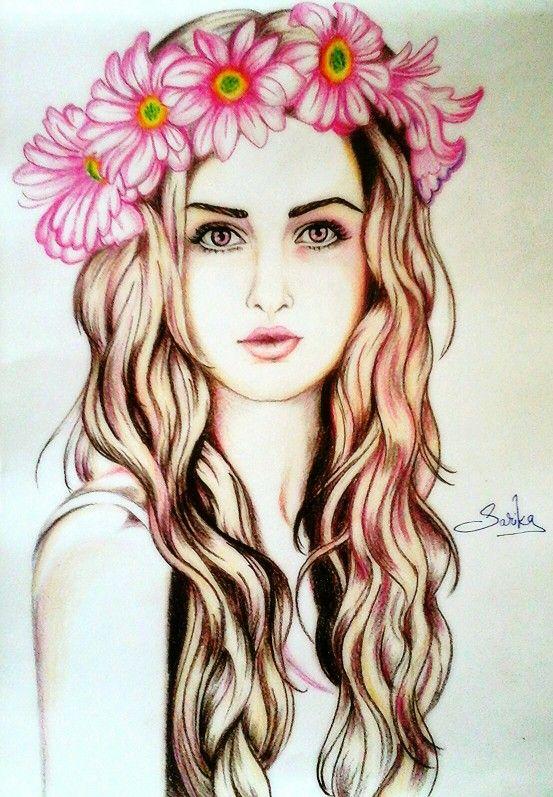 Flowers Crown Girl ****made By Me   Sarika*s Sketch World U2661u2665u00a4u2665   Pinterest   Cu00e1maras Y Cuadro