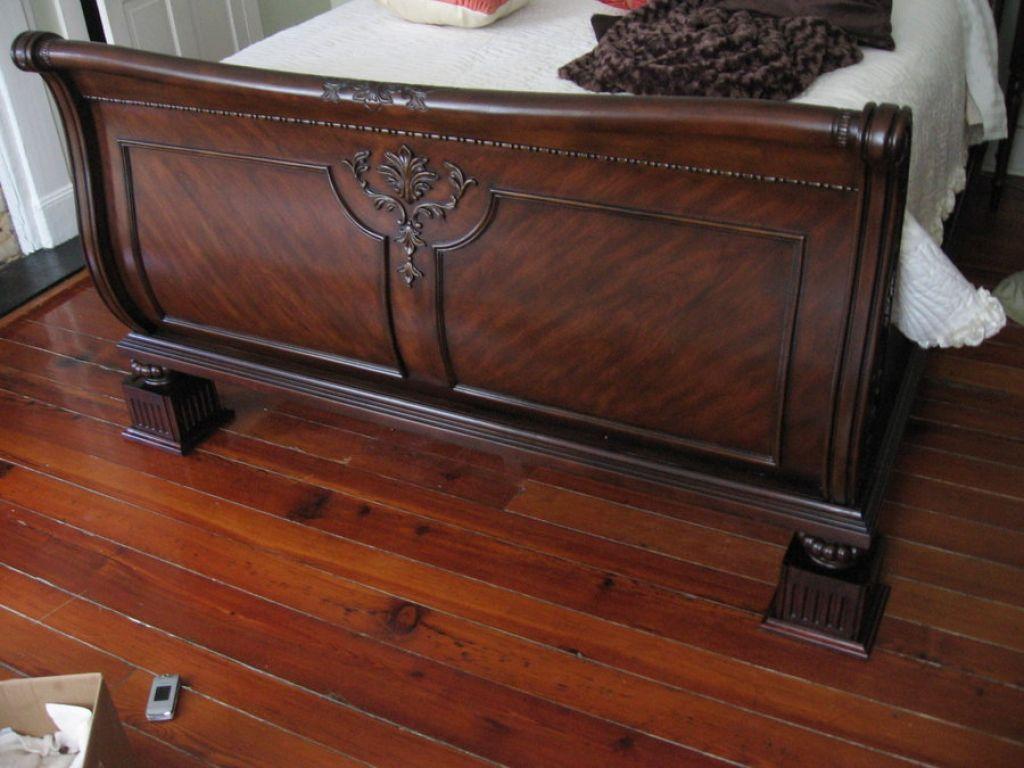Sleigh Bed Frame With Bed Risers