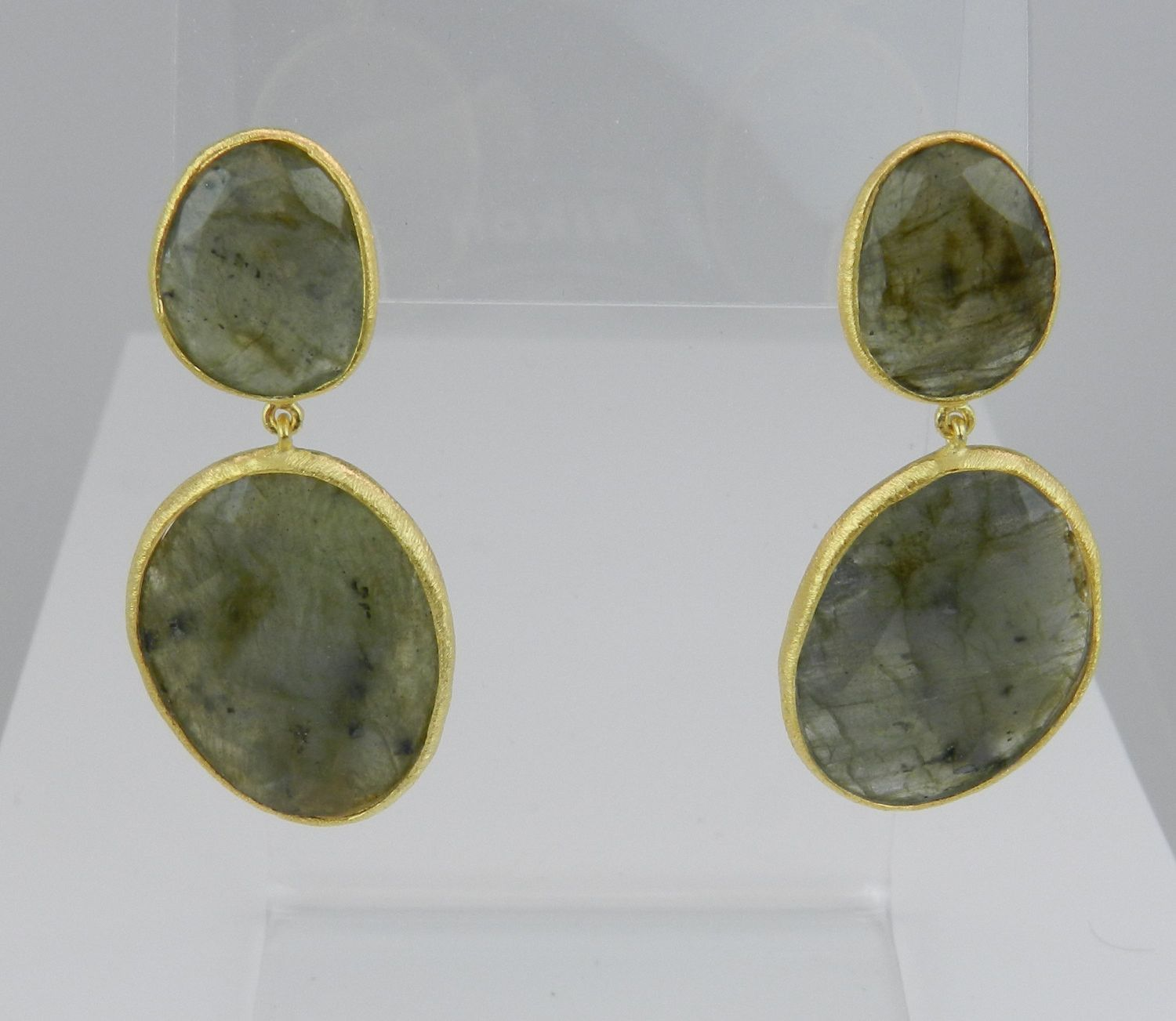 18K Yellow Gold over Sterling Silver Labradorite Dangle Drop Large Earrings The Stone of Magic