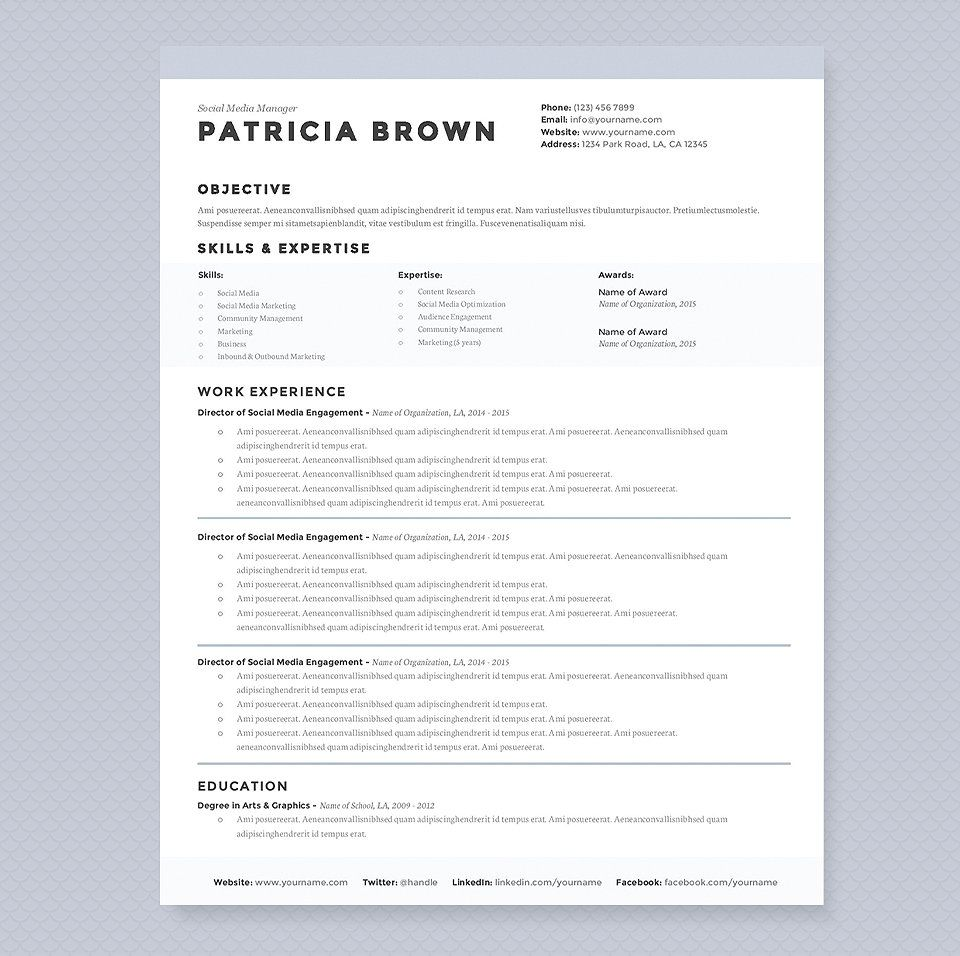 High Quality Clean Resume Template Pkg. By JannaLynnCreative On @creativemarket Idea Clean Resume Templates