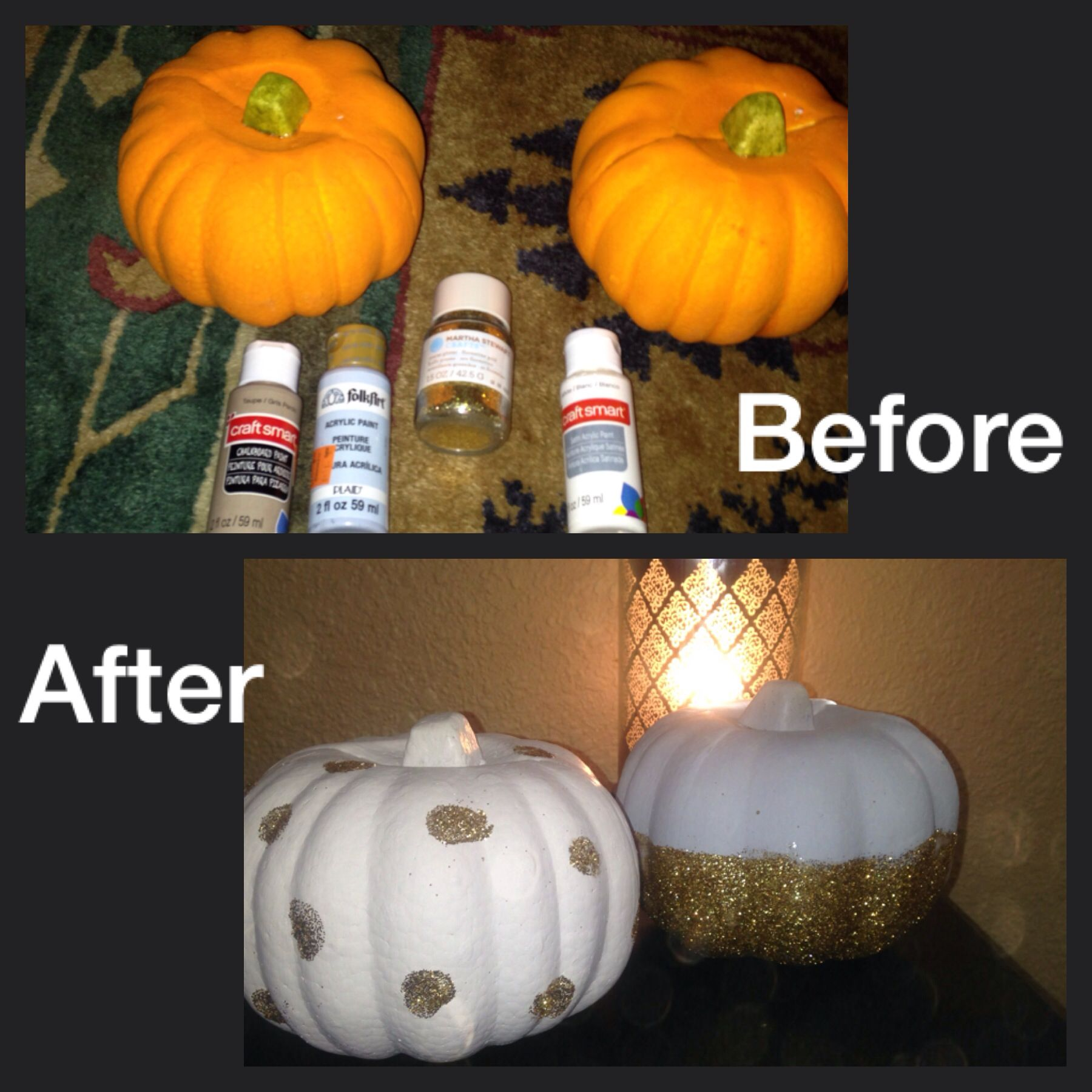 Glitter glam pumpkins from dollar store . Use acrylic paints and glitter . After glitter drys apply Modge podge over the top to seal. Total cost $6
