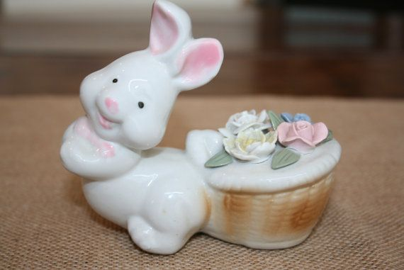 Cute Easter Bunny Figurine Basket with Raised by AstridsPastTimes, $10.00