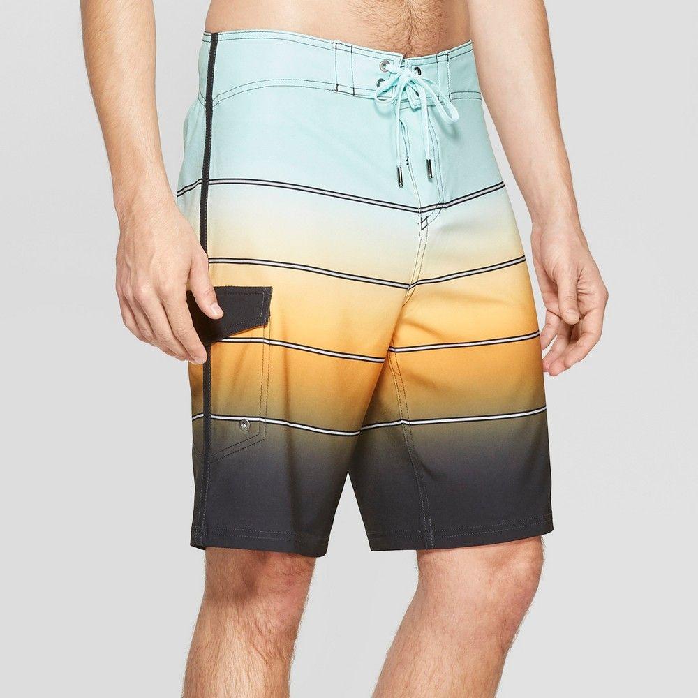 a41e128896 Men's 10 Striped Bleached Board Shorts - Goodfellow & Co Orange 28 ...