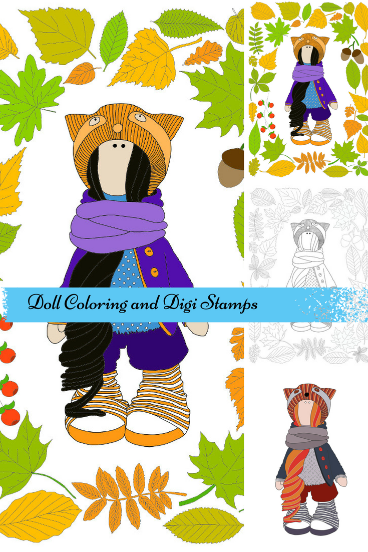 Childrens coloring sheet of a rag doll - Handmade Doll Autumn Coloring Digi Stamp Fabric Doll Tilda Digital Doll Art Instant Download Kids Adult Coloring Interior Doll Rag By Alena Here We Present