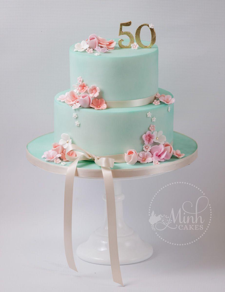 Super Cute 50th Birthday Cake With Mint Fondant Peach Colored