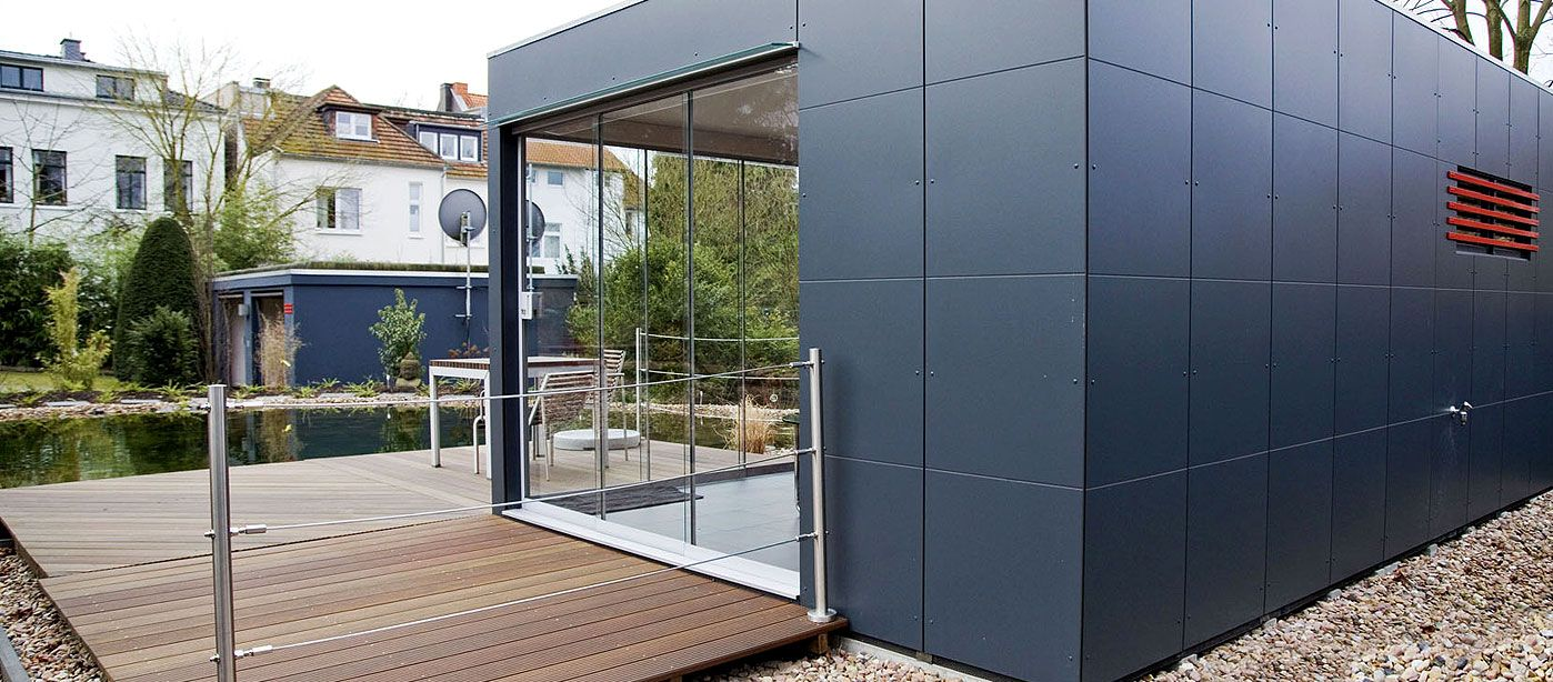 Cube DesignGartenhaus mit Panoramafenster Design