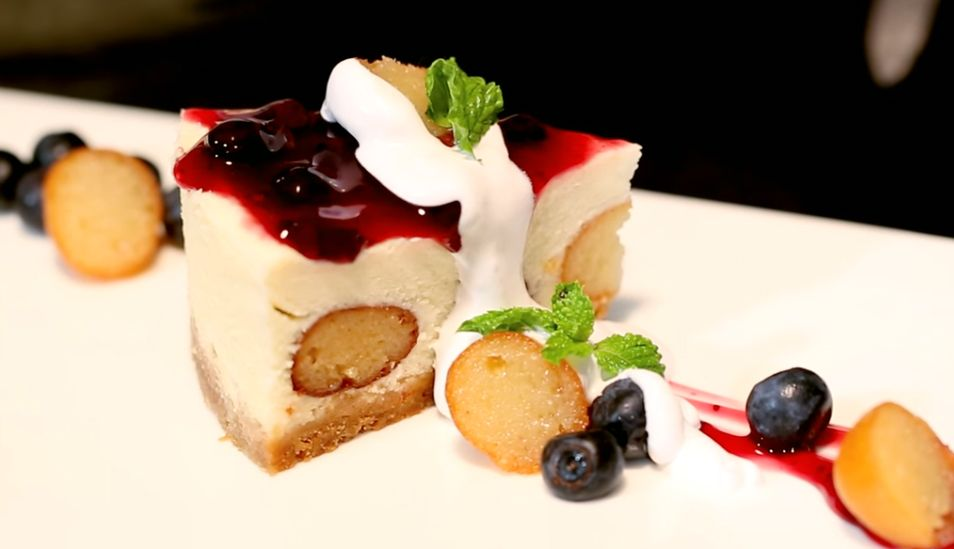 Blueberry Gulab Jamun Cheesecake