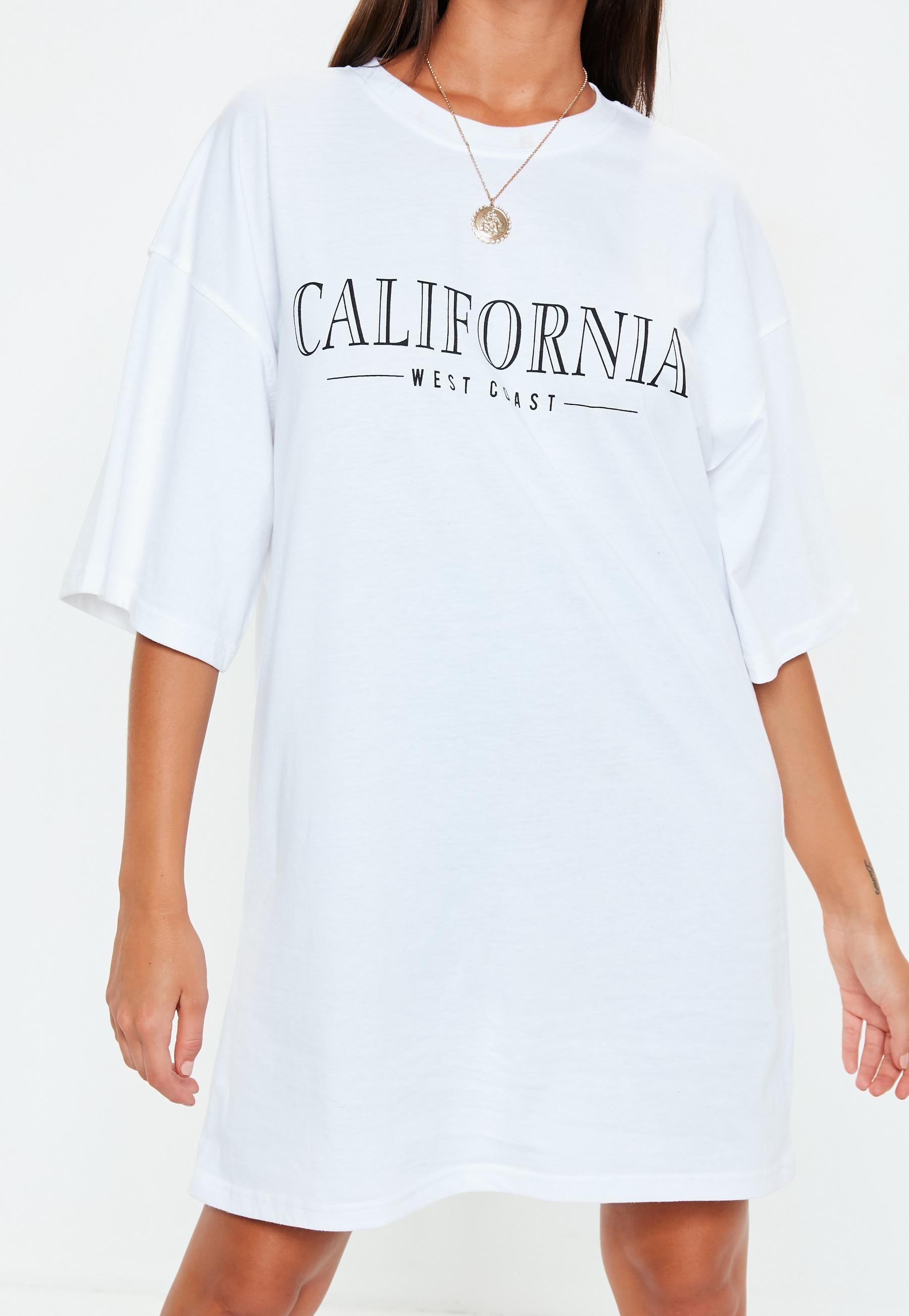 05c284245c15 White Oversized California Graphic T Shirt Dress | Missguided ...