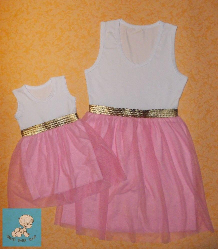 767a165ac1 Anya-lánya ruha szett rózsaszín tüll szoknyarésszel. Csoda-csini szett  kényelmes pamut felsőrésszel