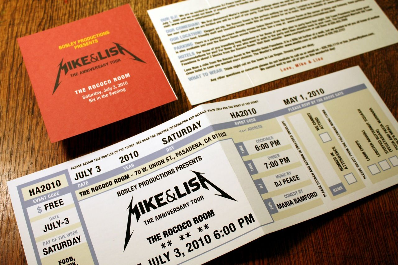 wedding invites ticket stubs – Concert Ticket Party Invitations