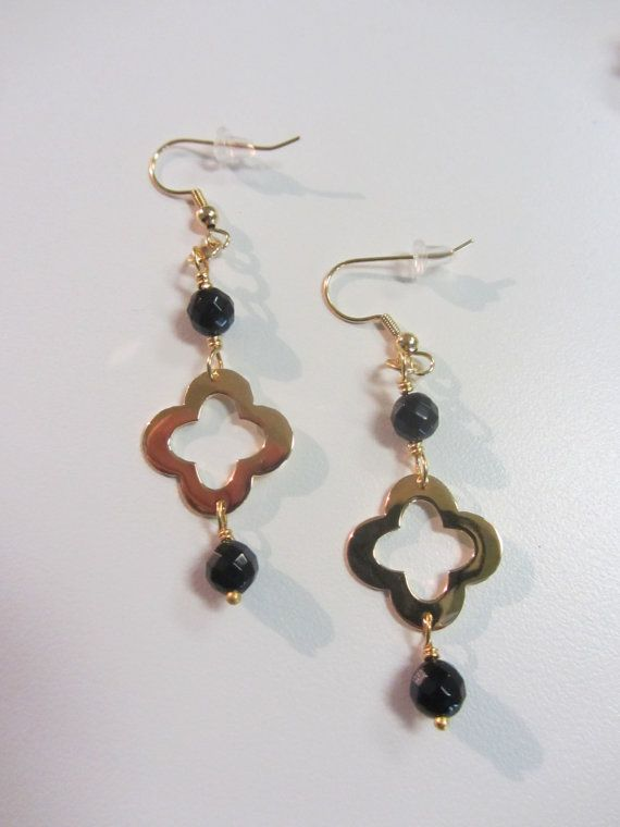 Faceted Black Onyx And 18kt. Gold Plated by JKCustomDesigns
