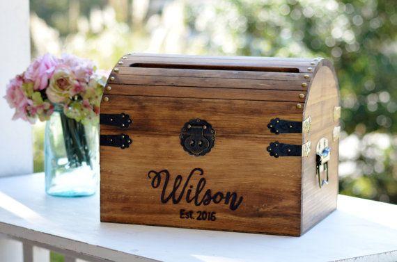 rustic wedding decor Personalized wedding card chest with slot- custom wedding card box wedding keepsake trunk keepsake chest wedding card holder