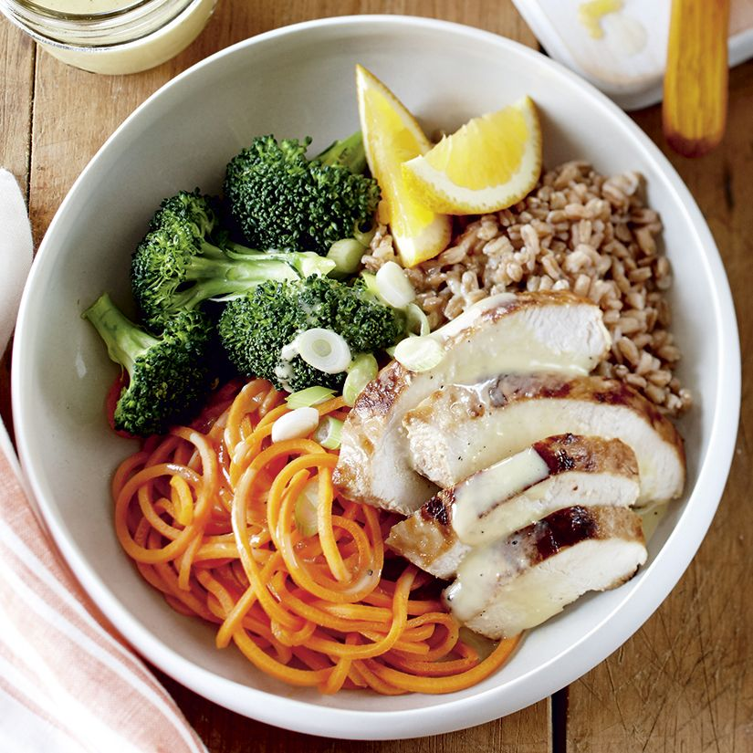 Recette de bol-repas poulet à lorange