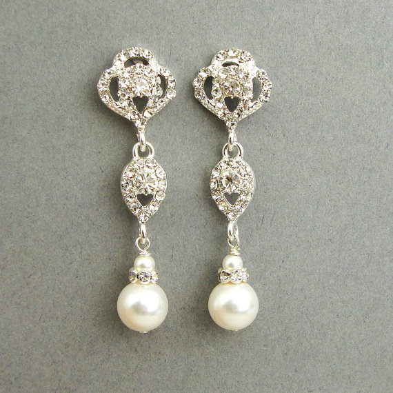 Swarovski Crystal And Pearl Bridal Earrings Vintage By Luxedeluxe 42 00