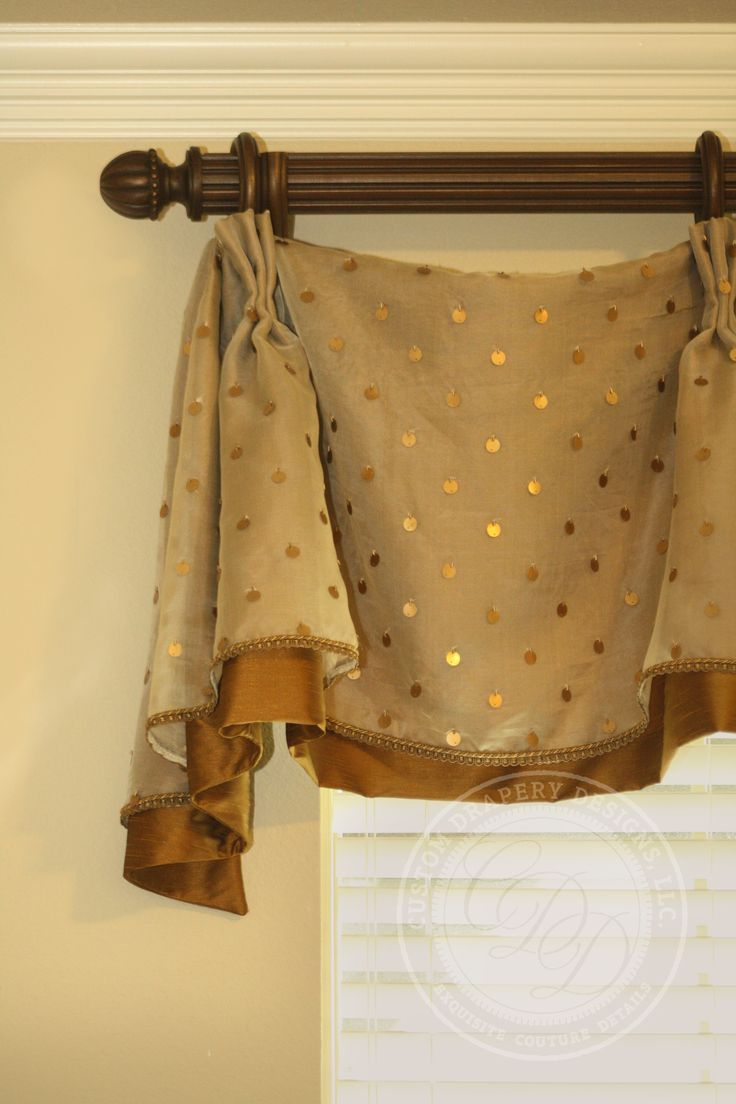 This is a cuffed valance on decorative medallions with beaded trim ...
