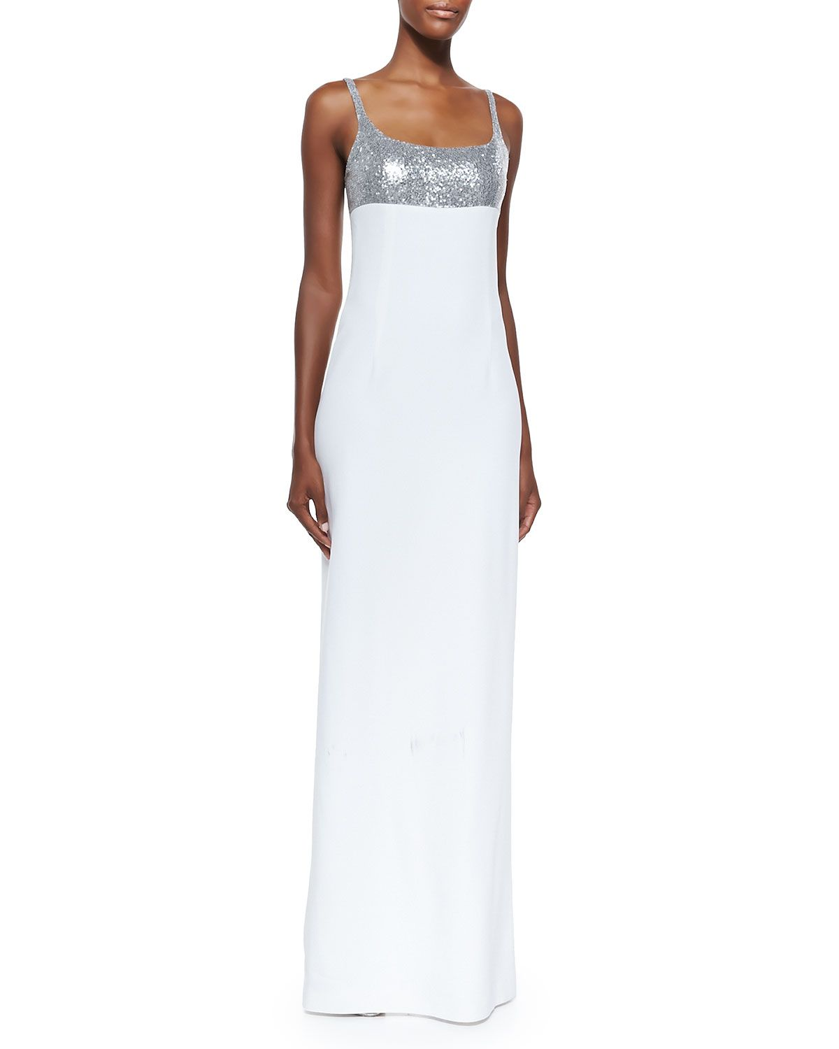 Michael Kors Sequined Tank Gown, Silver/White | ADDTL COOL PICS ...