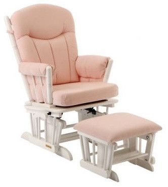 Glider And Ottoman Set In Pink Gingham And White   Contemporary   Rocking  Chairs And Gliders