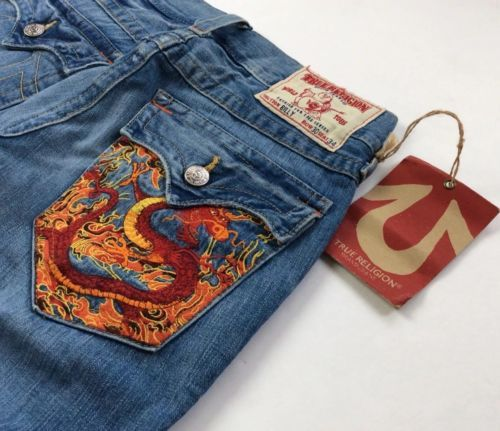 693c8a7ee True-Religion-Men-Vintage-Distressed-Big-T-Billy-Bootcut-Jeans-Dragon -Embroidery
