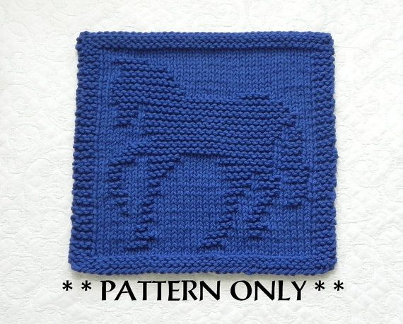 HORSE Knit Pattern - PDF Instant Download - Knit Dishcloth Pattern ...