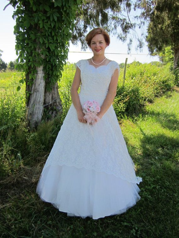Vintage 1950s Wedding Dress /Sweetheart Wedding Dress / Tulle ...