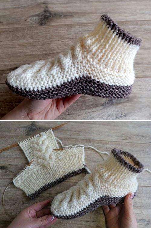 Wool Cable Slippers - Free Knitting Pattern #breienenhaken