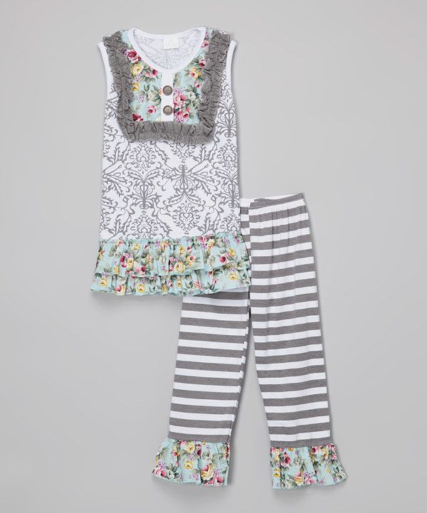 Look at this Gray Floral Bib Tunic & Stripe Leggings - Toddler & Girls on #zulily today!