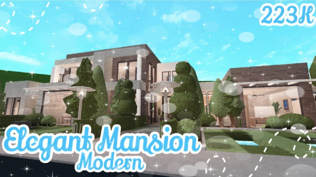 Roblox Bloxburg Elegant Modern Mansion Part 1 House Build In 2020 Modern Mansion House Plans With Pictures Mansions