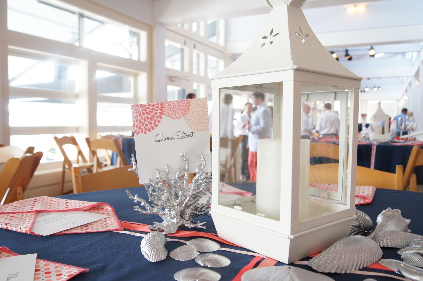 overly beach but the colors work coral grey & navy blue wedding ...