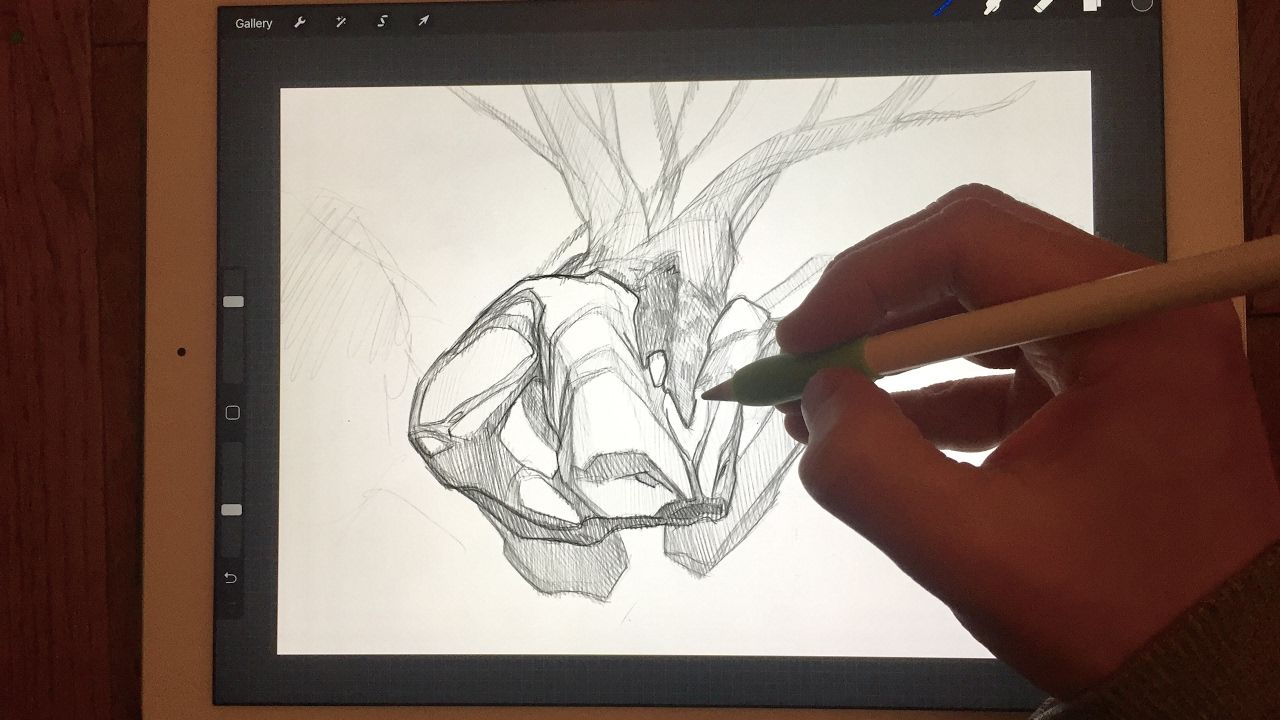 Apple pencil drawing interactive painting project part 1 on ipad pro